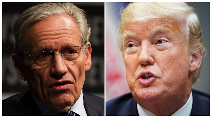 This combination of file photos created September 4, 2018 show Associate Editor of the Washington Post Bob Woodward (L) speaking at the Newseum during an event marking the 40th anniversary of Watergate at the Newseum in Washington, D.C., June 13, 2012; and President Donald Trump speaking during an event to announce a grant for drug-free communities support program, in the Roosevelt Room of the White House in Washington, D.C., on August 29, 2018.