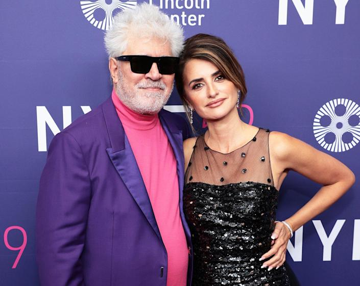 """Pedro Almodóvar and Penélope Cruz attend the premiere for """"Parallel Mothers"""" during the 59th New York Film Festival at Alice Tully Hall, Lincoln Center on October 08, 2021 in New York City."""
