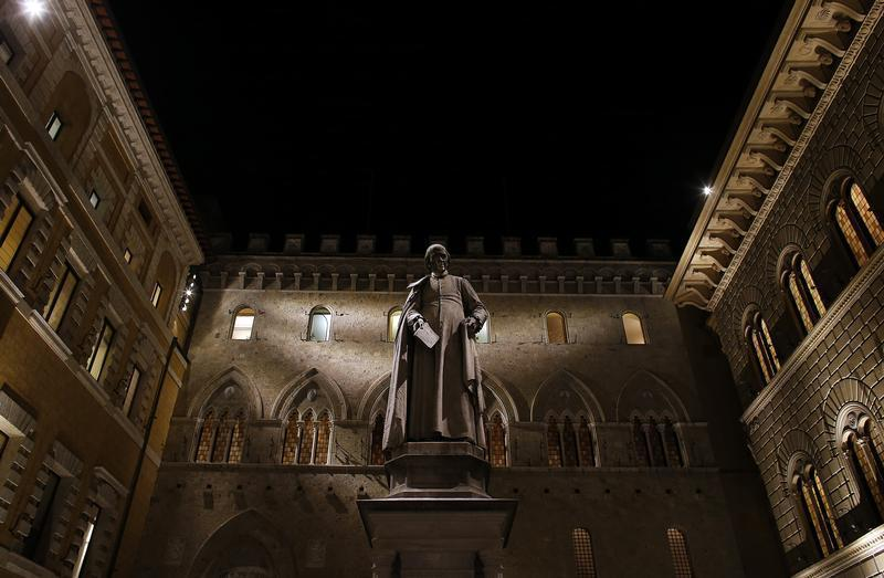 Monte Dei Paschi bank headquarters is pictured in Siena