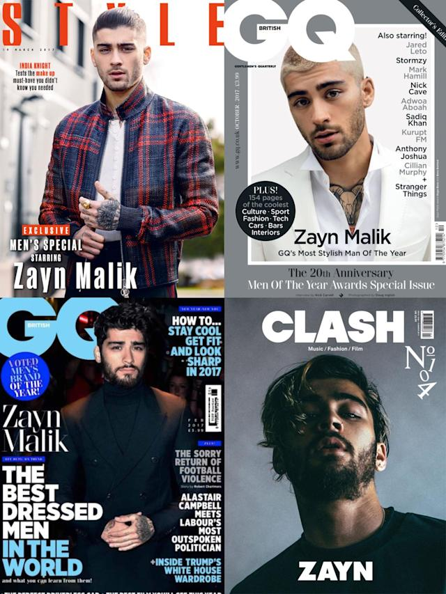 <p><em>19. Vogue</em> wasn't the only glossy that Zayn graced the pages of. He added <em>Style</em>, <em>Clash</em>, <em>GQ</em> and more to his résumé. (Photo: Style; GQ; Clash) </p>