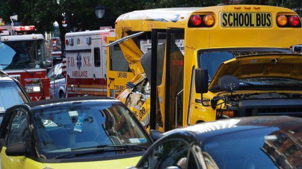 PHOTO: A damaged school bus at the scene where a truck drove into a bike path, Oct. 31, 2017, in New York City. (Mark Lennihan/AP)