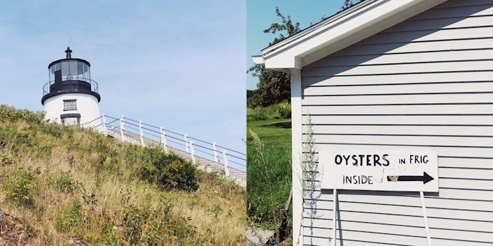 """On the left, a black and white lighthouse peaking over the edge of a grassy hill. On the right, an outdoor shot of a white house with a sign that reads """"oysters in frig inside""""."""