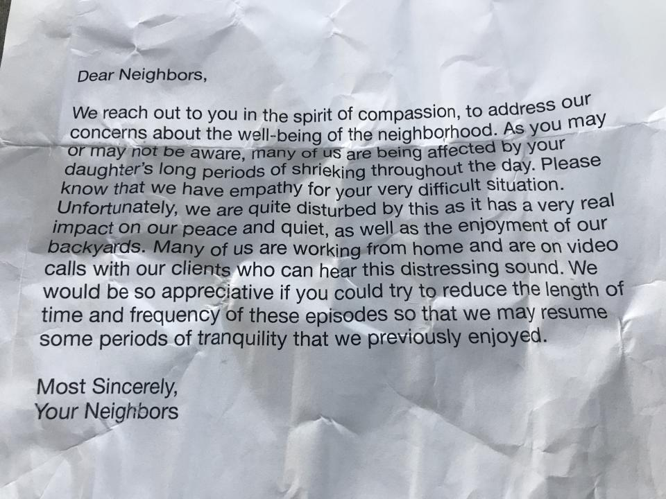 The crumpled letter left for the family complaining about Kayla's 'shrieking'. The little girl has autism.