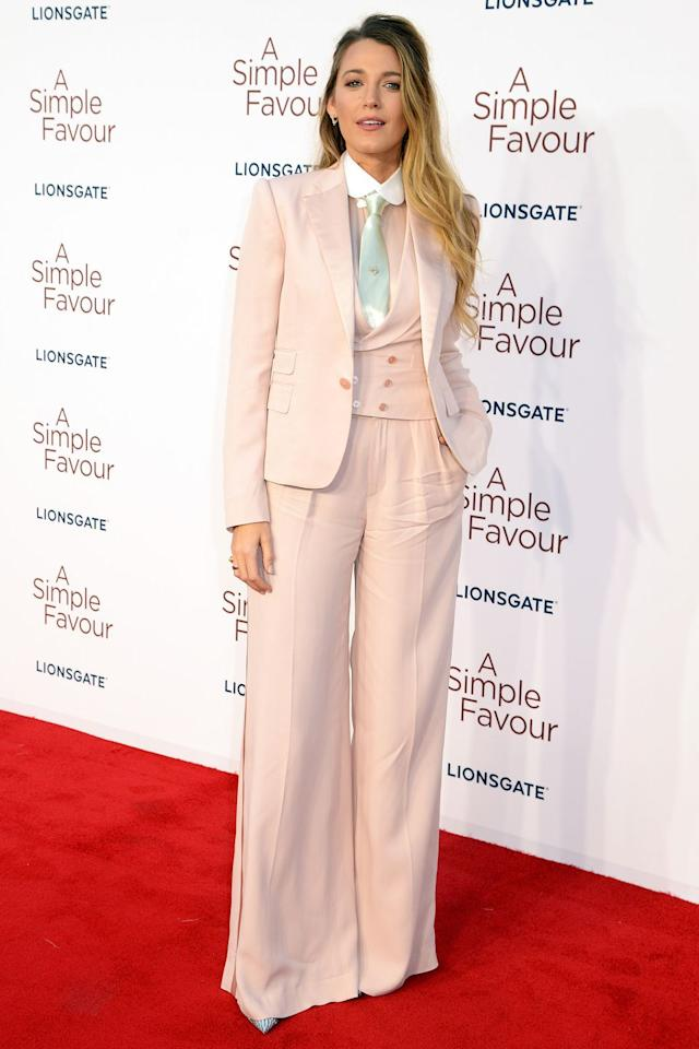 <p><strong>17 September </strong>Blake Lively in a custom Ralph Lauren suit for the London premiere of <em>A Simple Favour. </em></p>