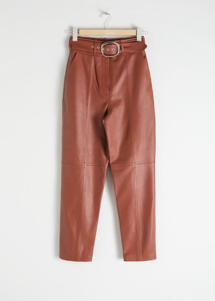 """<p><a href=""""https://www.popsugar.com/buy/amp-Other-Stories-Belted-Leather-Pants-Rust-493455?p_name=%26amp%3B%20Other%20Stories%20Belted%20Leather%20Pants%20in%20Rust&retailer=stories.com&pid=493455&price=379&evar1=fab%3Aus&evar9=46667046&evar98=https%3A%2F%2Fwww.popsugar.com%2Ffashion%2Fphoto-gallery%2F46667046%2Fimage%2F46667323%2FOther-Stories-Belted-Leather-Pants-in-Rust&list1=fall%20fashion%2Ctrends%2Cfall%2Cpants&prop13=mobile&pdata=1"""" rel=""""nofollow"""" data-shoppable-link=""""1"""" target=""""_blank"""" class=""""ga-track"""" data-ga-category=""""Related"""" data-ga-label=""""https://www.stories.com/en_usd/clothing/trousers/product.belted-leather-pants-rust.0713170001.html"""" data-ga-action=""""In-Line Links"""">&amp; Other Stories Belted Leather Pants in Rust</a> ($379)</p>"""