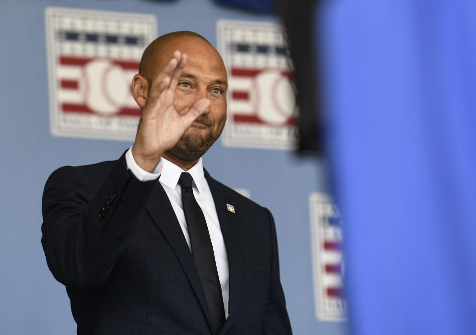 Hall of Fame inductee Derek Jeter, of the New York Yankees, arrives during an induction ceremony at the Clark Sports Center at the National Baseball Hall of Fame, Wednesday, Sept. 8, 2021, in Cooperstown, N.Y. (AP Photo/Hans Pennink)