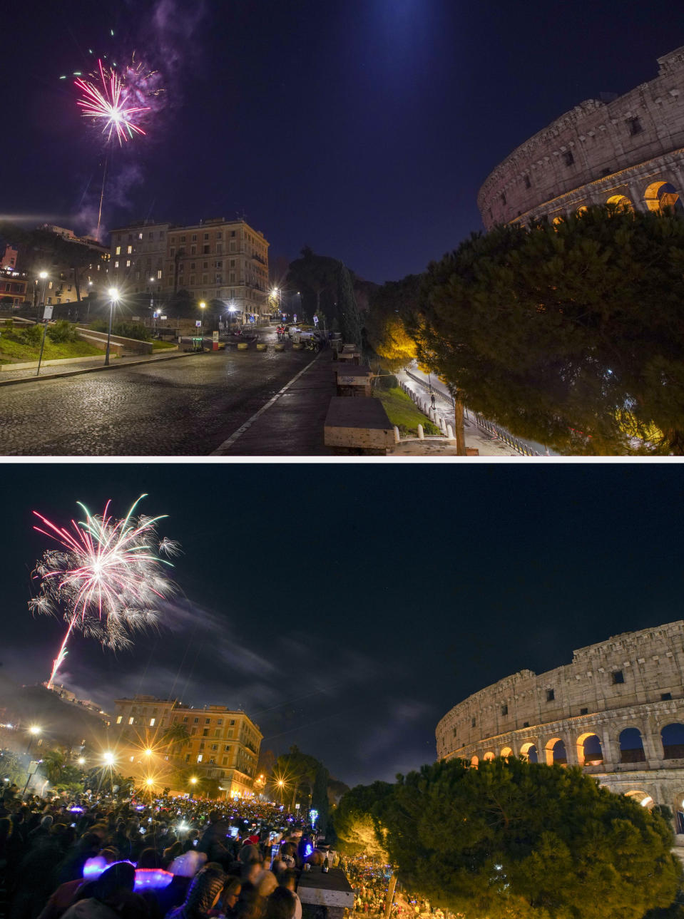 This combo image shows Colle Oppio hill overlooking Rome's Colosseum, a popular spot for New Year's Eve celebrations, as seen in the first minutes of Friday, Jan. 1, 2021, top photo, and Tuesday, Jan. 1, 2018, bottom photo. As the world says goodbye to 2020, there will be countdowns and live performances, but no massed jubilant crowds in traditional gathering spots like the Champs Elysees in Paris and New York City's Times Square this New Year's Eve. The virus that ruined 2020 has led to cancelations of most fireworks displays and public events in favor of made-for-TV-only moments in party spots like London and Rio de Janeiro (AP Photo/Andrew Medichini)