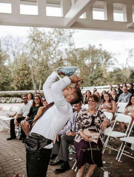 PHOTO: He said he gave himself a 'nice leaf shower at the end' once he reached the altar. (Sarah Graybeal Photography)