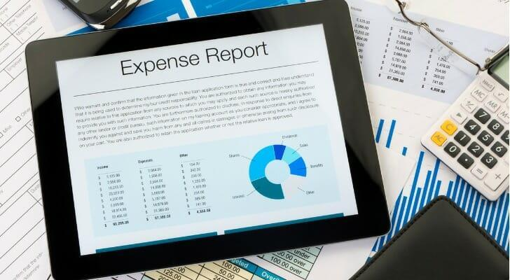 Tablet using an expense report app