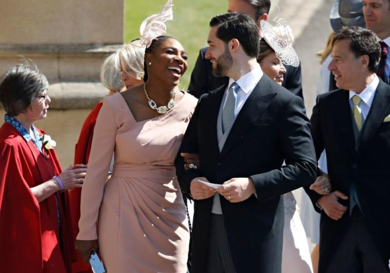 Serena Williams and Alexis Ohanian at Meghan Markle and Prince Harry's royal wedding | ODD ANDERSEN/AFP/Getty Images