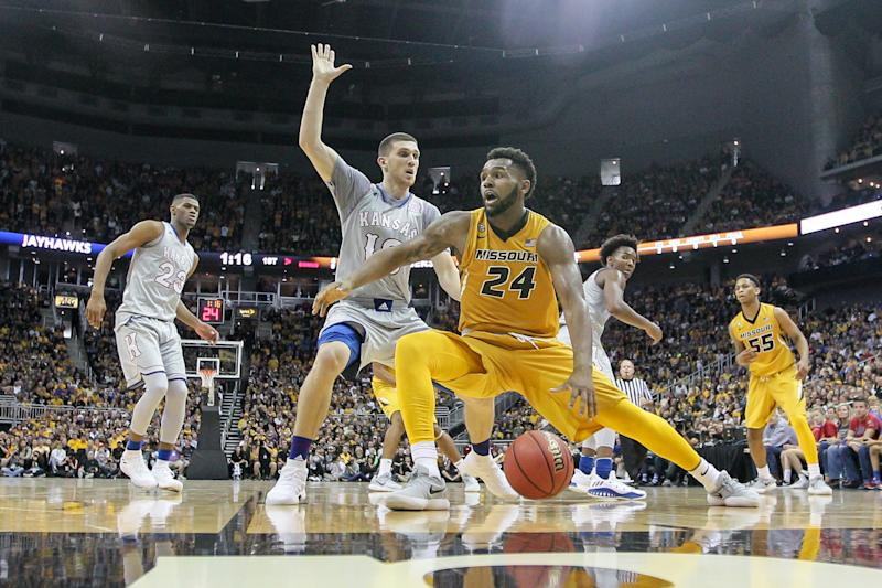 KANSAS CITY, MO - OCTOBER 22: Missouri Tigers forward Kevin Puryear (24) during the preseason Showdown for Relief college basketball game between the Missouri Tigers and the Kansas Jayhawks on October 22, 2017 at Sprint Center in Kansas City, Missouri. (Photo by William Purnell/Icon Sportswire via Getty Images)