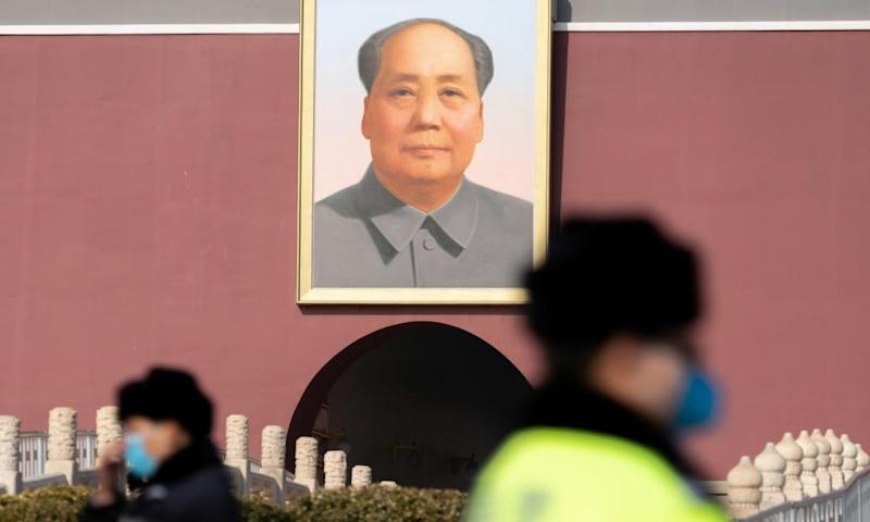 A portrait of Mao Zedong, former Chairman of the People's Republic of China, in Tiananmen Square