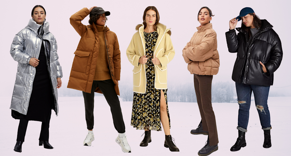 models wearing silver winter coat, brown winter coat, yellow parka, and faux leather black puffer jacket