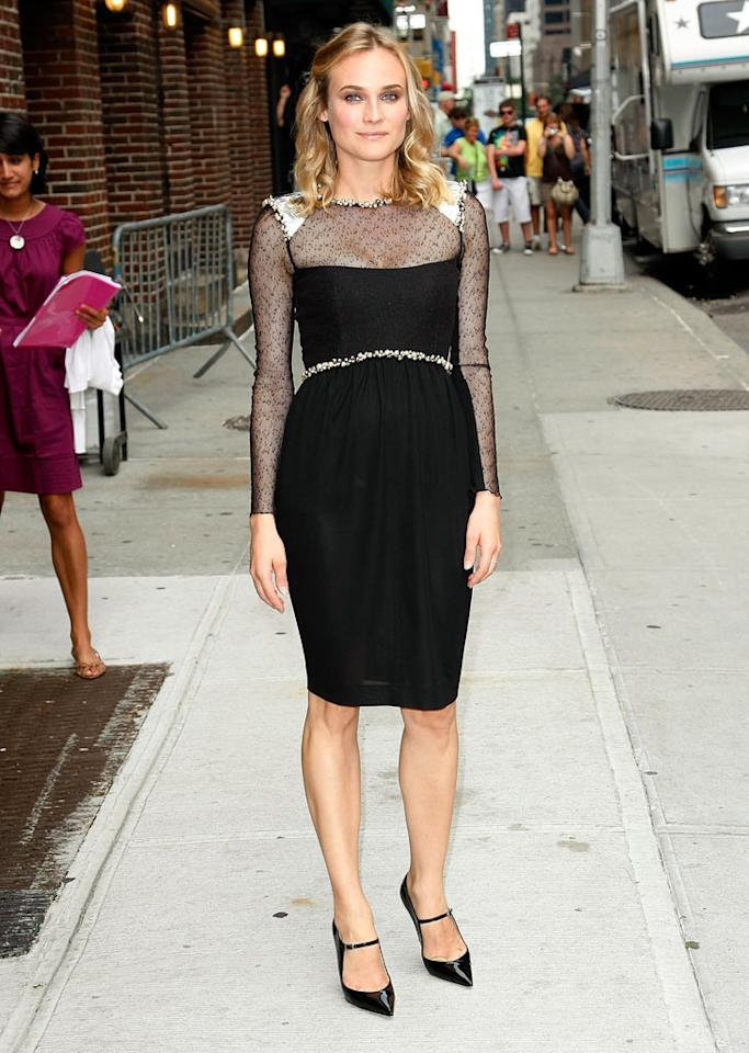 "Another one of Dave's guests was German-born beauty Diane Kruger, who continued to impress in a chic, bedazzled Chanel creation and Jimmy Choo stilettos. Jeffrey Ufberg/<a href=""http://www.wireimage.com"" target=""new"">WireImage.com</a> - August 18, 2009"