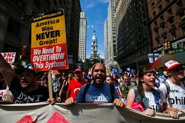 <p>City Hall is seen in the background as supporters of U.S. Senator Bernie Sanders take part in a protest march ahead of the 2016 Democratic National Convention in Philadelphia, Pennsylvania, July 24, 2016. (Adrees Latif/Reuters)</p>
