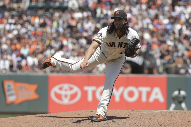 "The Giants are going to miss <a class=""link rapid-noclick-resp"" href=""/mlb/players/11025/"" data-ylk=""slk:Dereck Rodriguez"">Dereck Rodriguez</a> during the rookie's absence. (AP Photo)"