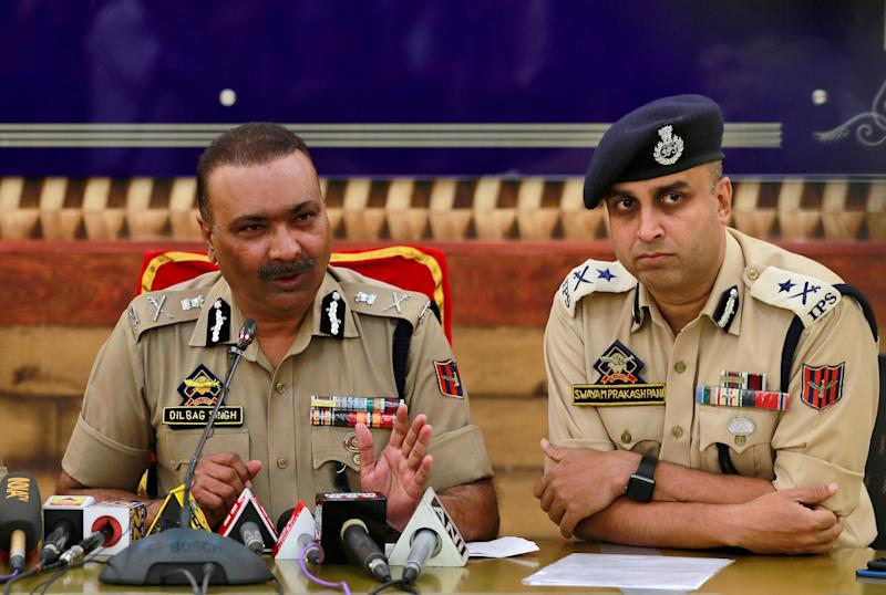 Dilbag Singh, the Jammu and Kashmir director general of police, speaks during a news conference in Srinagar September 11, 2019. (Photo: Danish Ismail / Reuters)
