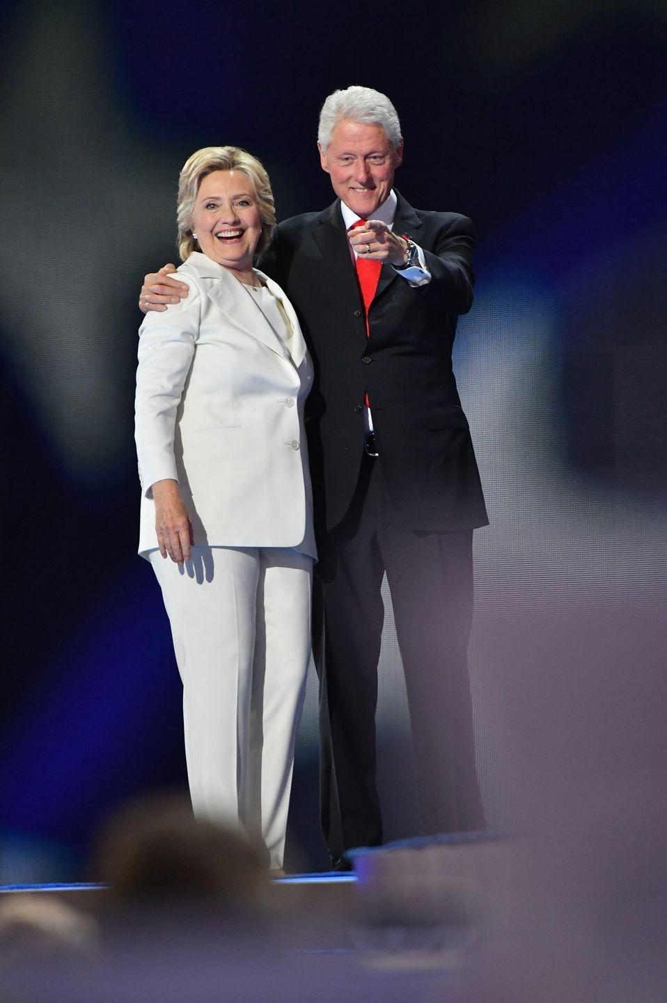 """<p>The former secretary of state and presidential candidate stayed with her husband despite his scandalous affair with an intern during his presidency, reports <em><a href=""""http://time.com/5120561/bill-clinton-monica-lewinsky-timeline/"""" rel=""""nofollow noopener"""" target=""""_blank"""" data-ylk=""""slk:TIME"""" class=""""link rapid-noclick-resp"""">TIME</a></em>.</p><p>Many called for Bill Clinton's resignation, but in an interview with <em><a href=""""https://www.cbsnews.com/news/hillary-clinton-cbs-sunday-morning-bill-should-absolutely-not-have-resigned-over-lewinsky-scandal/"""" rel=""""nofollow noopener"""" target=""""_blank"""" data-ylk=""""slk:CBS"""" class=""""link rapid-noclick-resp"""">CBS</a></em> Hillary said, """"Absolutely not,"""" when asked if her husband should have resigned. She still stands by him today.</p>"""