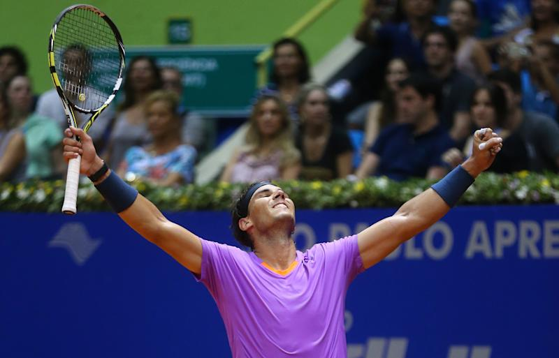 Spain's Rafael Nadal celebrates at the end of the Brazil Open ATP tournament final tennis match against Argentina's David Nalbandian in Sao Paulo, Brazil, Sunday, Feb. 17, 2013. Nadal won 6-2, 6-3. (AP Photo/Andre Penner)