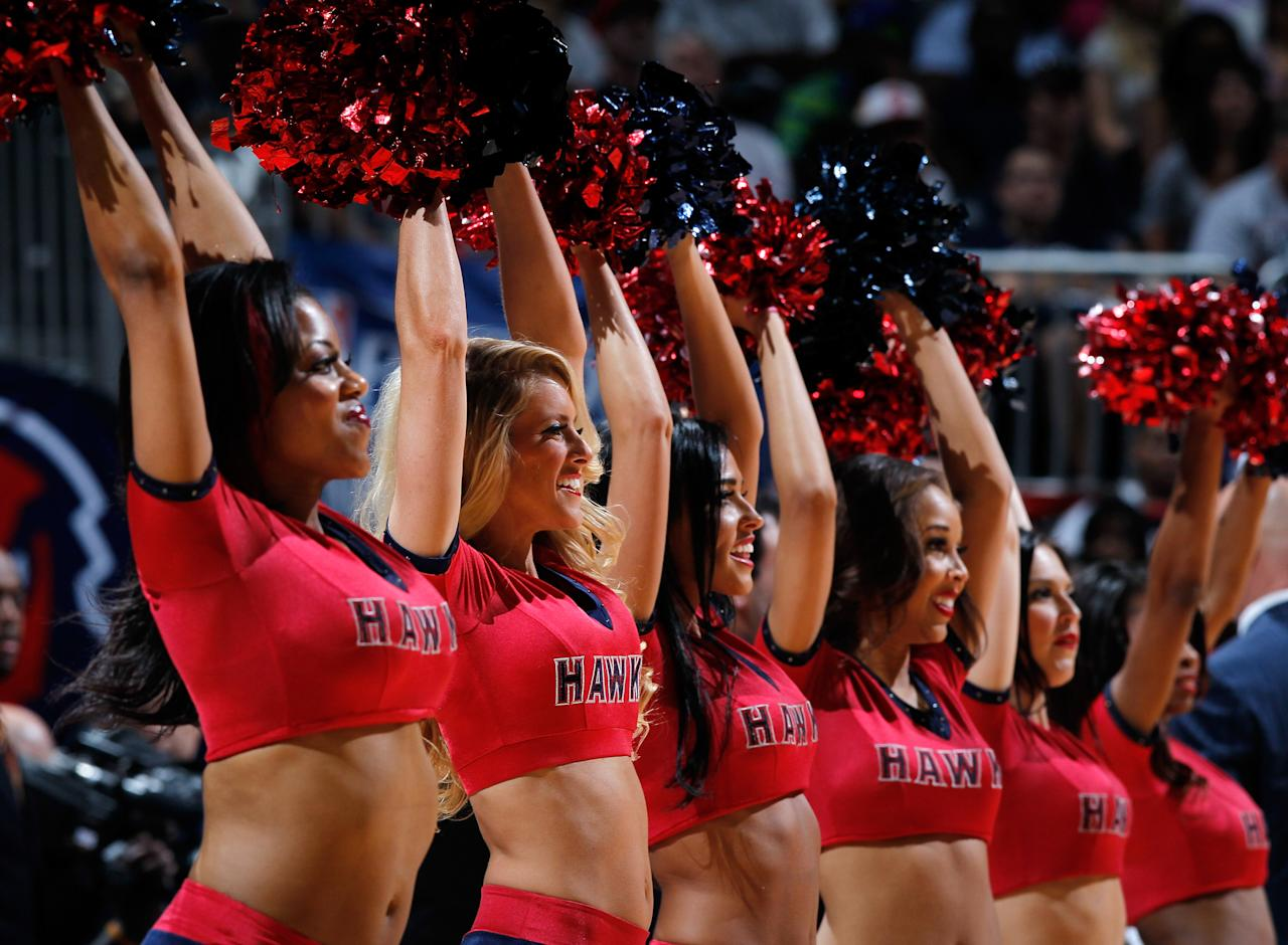 ATLANTA, GA - MAY 01:  The Atlanta Hawks cheerleaders perform in Game Two of the Eastern Conference Quarterfinals in the 2012 NBA Playoffs against the Boston Celtics at Philips Arena on May 1, 2012 in Atlanta, Georgia.  NOTE TO USER: User expressly acknowledges and agrees that, by downloading and or using this photograph, User is consenting to the terms and conditions of the Getty Images License Agreement.  (Photo by Kevin C. Cox/Getty Images)