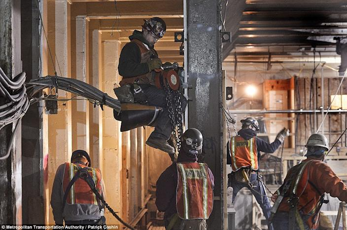 Hundreds of workers are busy underground, unseen by Manhattanites on the streets above. (Photo/ MTA)