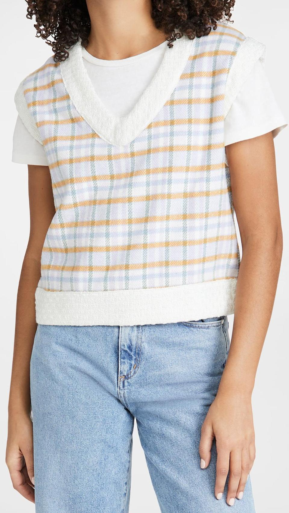 <p>This <span>Sister Jane Take Me Back Checked Vest</span> ($82) is fresh and effortlessly cool.</p>