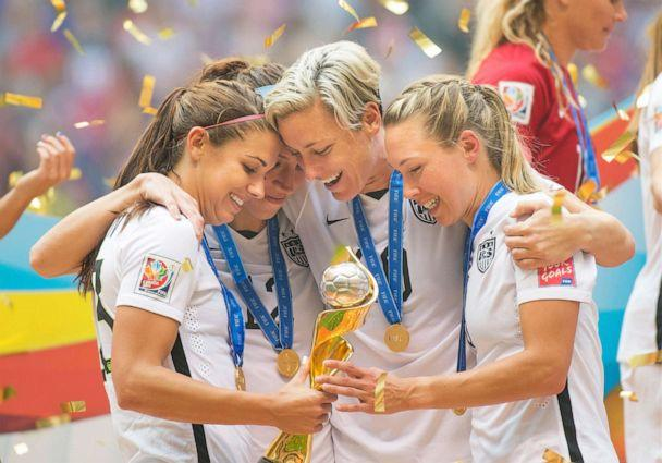 PHOTO: Alex Morgan (left), Lauren Holiday, Abby Wambach, and Whitney Engen of Team USA celebrate their victory at the 2015 women's World Cup Soccer in Vancouver, July 5, 2015. (Christopher Morris/Corbis via Getty Images)