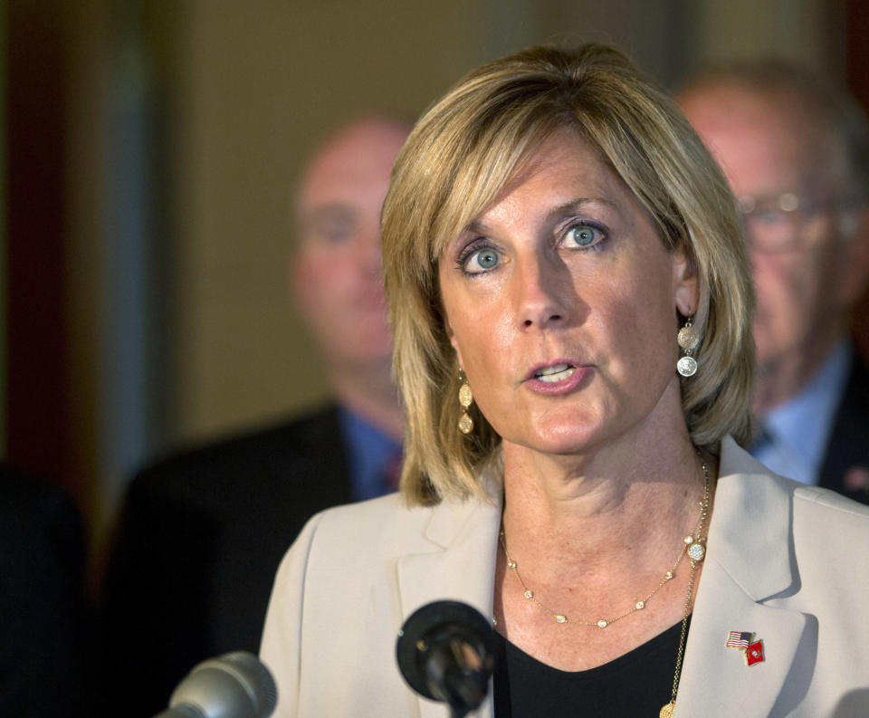 FILE - In this June 10, 2015 file photo, assemblywoman Claudia Tenney, R-New Hartford, speaks during a news conference at the Capitol, in Albany, N.Y. A New York judge ruled Friday that Republican Claudia Tenney defeated US Rep. Anthony Brindisi by 109 votes in last open race. (AP Photo/Mike Groll, File)