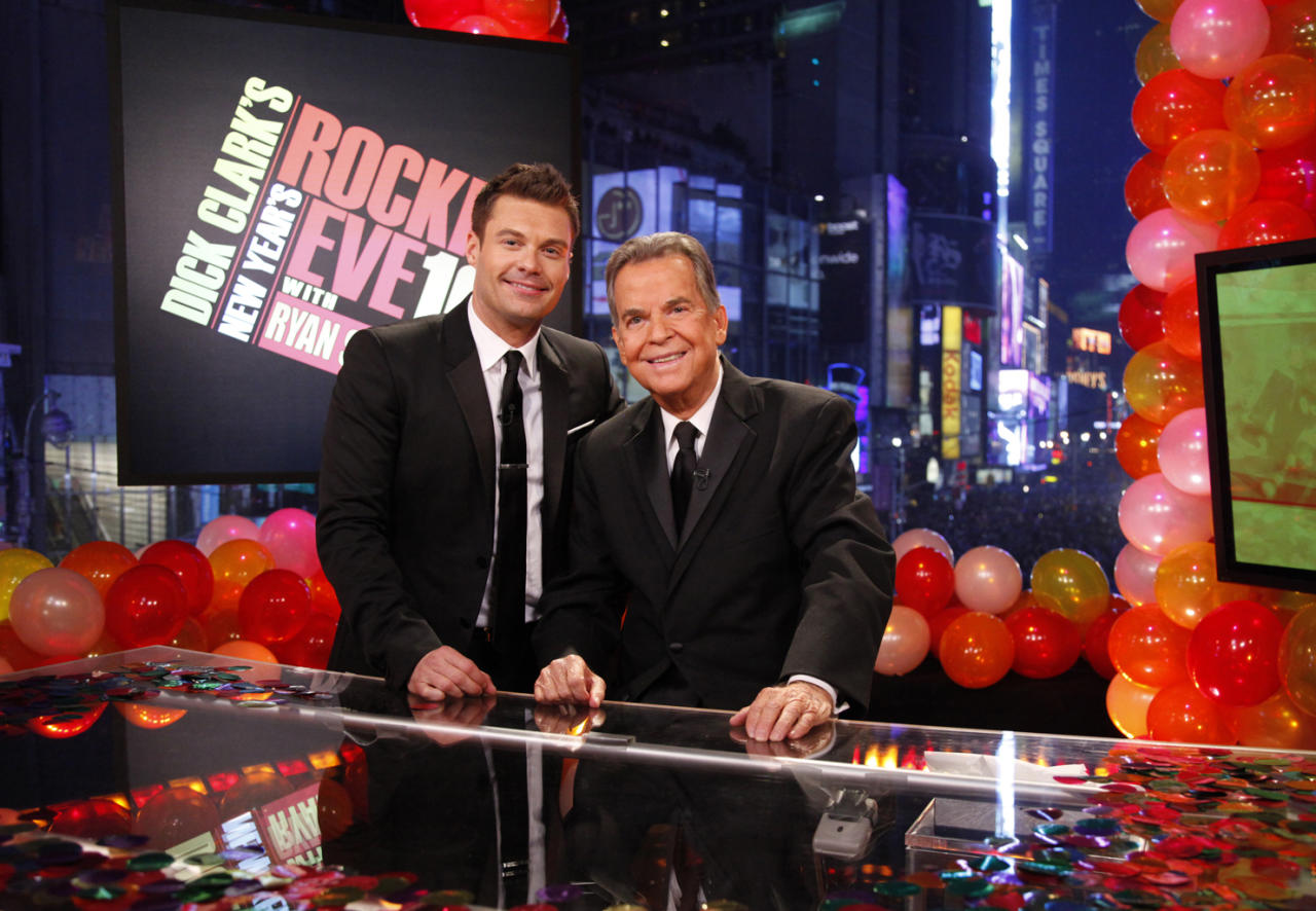 "Clark became a New Year's Eve tradition, hosting ""<a href=""http://tv.yahoo.com/dick-clark-39-s-new-year-39-s-rockin-39-eve/show/7755"">Dick Clark's New Year's Rockin' Eve</a>"" for 33 straight years. After suffering a minor stroke in December 2004, Clark was forced to skip that year's festivities. But he rejoined the show the following year with co-host Ryan Seacrest, saying on-air: ""Last year, I had a stroke. It left me in bad shape. I had to teach myself  how to walk and talk again. It's been a long, hard fight. My speech is  not perfect, but I'm getting there."" Clark was on hand to co-host this past year's ""Rockin' Eve,"" which marked the show's 40th anniversary. (Photo courtesy of ABC)"