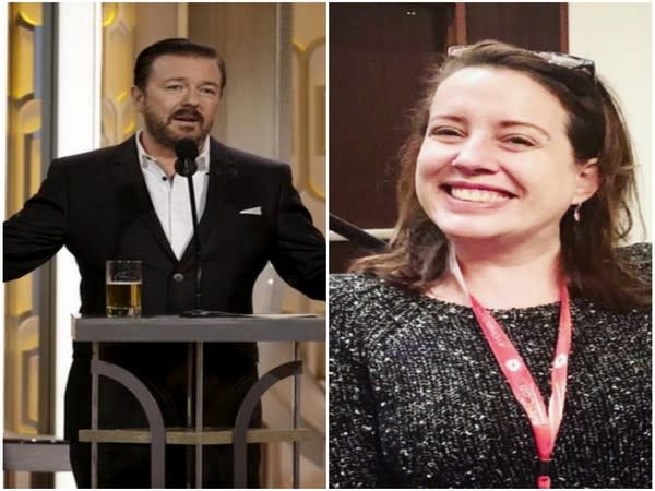 Ricky Gervais and Julia Quinn