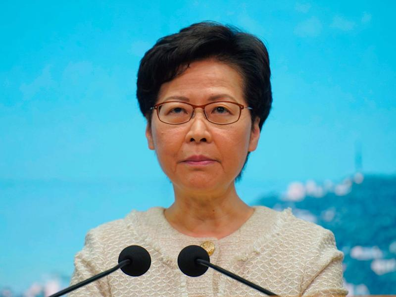 Hong Kong Chief Executive Carrie Lam listens to reporters' questions during a press conference in Hong Kong: AP