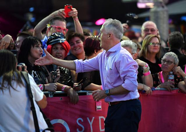 Australia Prime Minister Malcolm Turnbull meets participants and spectators at the Mardi Gras. (SAEED KHAN via Getty Images)