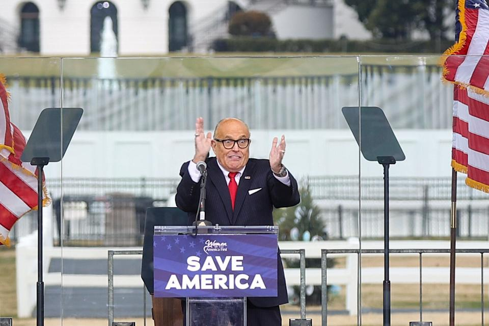 "Rudy Giuliani appeared at the Jan. 6 ""Save America Rally"" near the White House, which sparked the insurrection at the U.S. Capitol. (Photo: Tayfun Coskun/Anadolu Agency via Getty Images)"