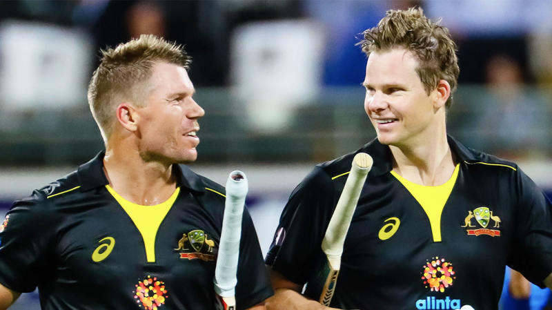 David Warner (pictured left) and Steve Smith (pictured right) after batting in an ODI. (Getty Images)