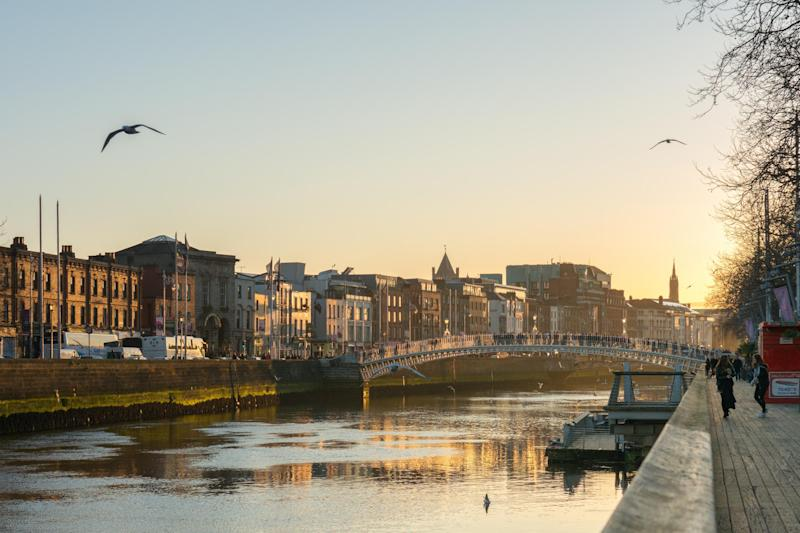 The sun sets over the River Liffey in Dublin, a city with lots of scenic waterside activity: Shutterstock
