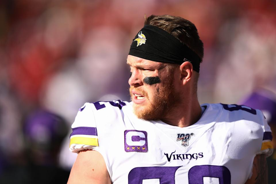 SANTA CLARA, CALIFORNIA - JANUARY 11: Kyle Rudolph #82 of the Minnesota Vikings looks on from the sidelines during the first half of the NFC Divisional Round Playoff game against the San Francisco 49ers at Levi's Stadium on January 11, 2020 in Santa Clara, California. (Photo by Ezra Shaw/Getty Images)