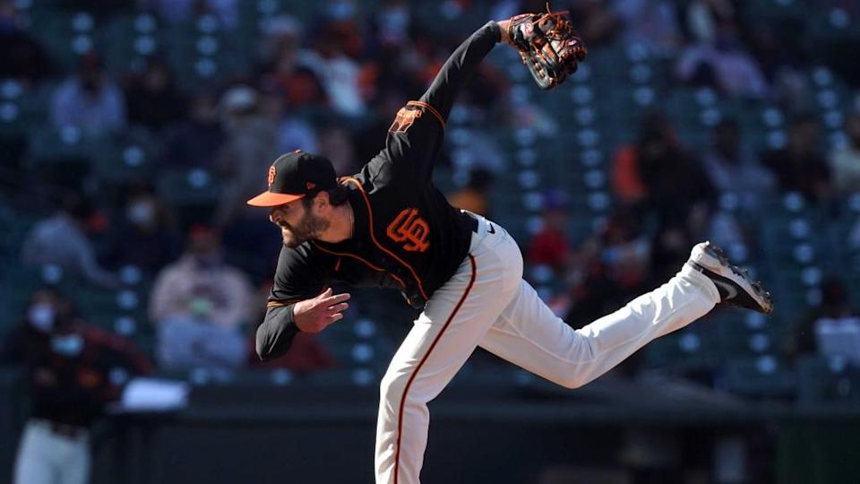 Nick Tropeano pitching with Giants