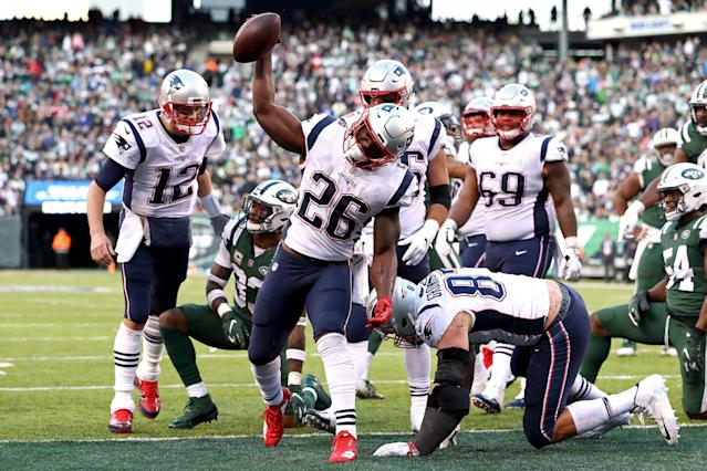 """The Patriots have a true workhorse back in <a class=""""link rapid-noclick-resp"""" href=""""/nfl/players/31001/"""" data-ylk=""""slk:Sony Michel"""">Sony Michel</a>, a rarity in a Bill Belichick offense. (Getty)"""