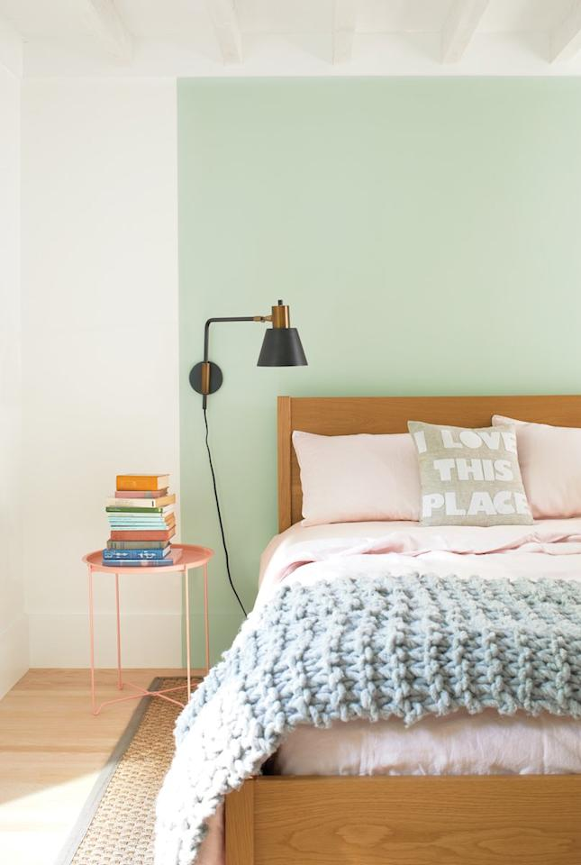 """<p>This shade of pink works for more than just paint—consider some blush pink bedding, a throw blanket, or pillow covers you can easily swap out. </p> <p><strong>RELATED: <a href=""""https://www.realsimple.com/home-organizing/decorating/decorating-bedroom/best-places-to-buy-bedding-websites"""" target=""""_blank"""">The Best Places to Buy High-Quality Bedding Online</a></strong></p>"""
