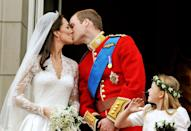 <p>The kiss to end all kisses - the couple's famous balcony kiss following their wedding will go down in royal history as one of the couple's most iconic moments. </p>
