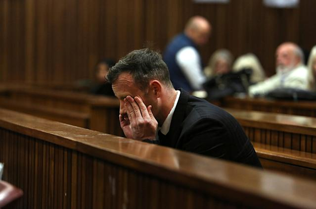 Oscar Pistorius sits in the dock during the third day of his resentencing hearing for the 2013 murder of his girlfriend Reeva Steenkamp, in the North Gauteng High Court in Pretoria, South Africa June 15, 2016. REUTERS/Alon Skuy/Pool