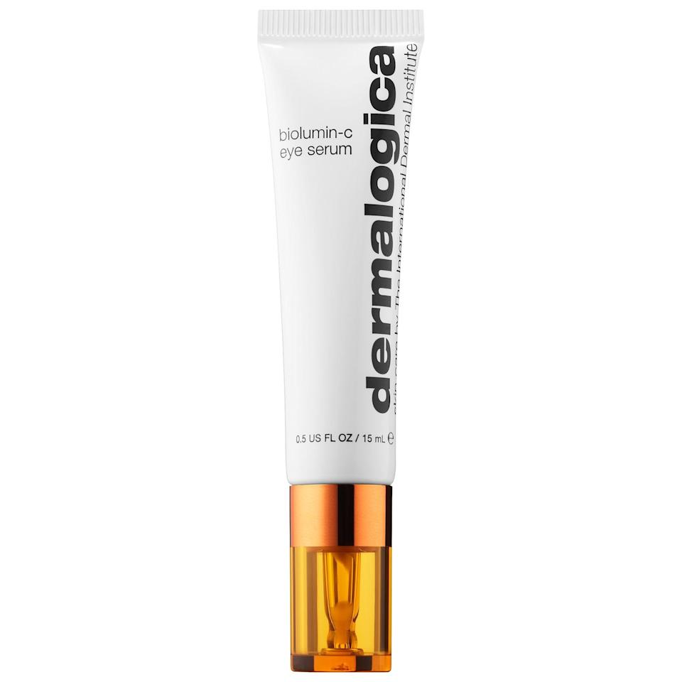 """<p>The stable vitamin C complex in this <a href=""""https://www.popsugar.com/buy/Dermalogica-Biolumin-C-Vitamin-C-Eye-Serum-553525?p_name=Dermalogica%20Biolumin-C%20Vitamin%20C%20Eye%20Serum&retailer=sephora.com&pid=553525&price=70&evar1=bella%3Auk&evar9=47275268&evar98=https%3A%2F%2Fwww.popsugar.com%2Fbeauty%2Fphoto-gallery%2F47275268%2Fimage%2F47275271%2FDermalogica-Biolumin-C-Vitamin-C-Eye-Serum&list1=shopping%2Csephora%2Ceye%20cream%2Cvitamin%20c%2Cbeauty%20shopping&prop13=api&pdata=1"""" rel=""""nofollow noopener"""" class=""""link rapid-noclick-resp"""" target=""""_blank"""" data-ylk=""""slk:Dermalogica Biolumin-C Vitamin C Eye Serum"""">Dermalogica Biolumin-C Vitamin C Eye Serum</a> ($70) helps fight free radicals, block pollutants from the environment, and brighten skin (with an added antiwrinkle peptide). It's also lightweight and antioxidant-rich, with other natural ingredients like chia seed and mushroom extracts also fighting on the puffy-eye combat team.</p>"""