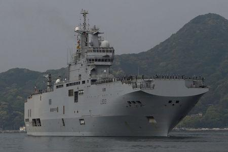 French amphibious assault ship Mistral arrives at Japan Maritime Self-Defense Force's Sasebo naval base in Sasebo, Nagasaki prefecture, Japan April 29, 2017, ahead of joint exercises with U.S., British and Japanese forces in waters off Guam. REUTERS/Nobuhiro Kubo