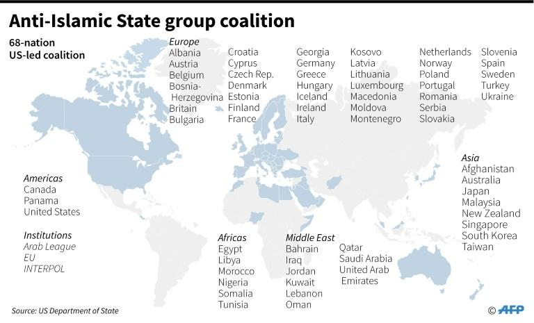 Map showing the 68-nation US-led coalition against the Islamic State group that will meet in Washington Wednesday