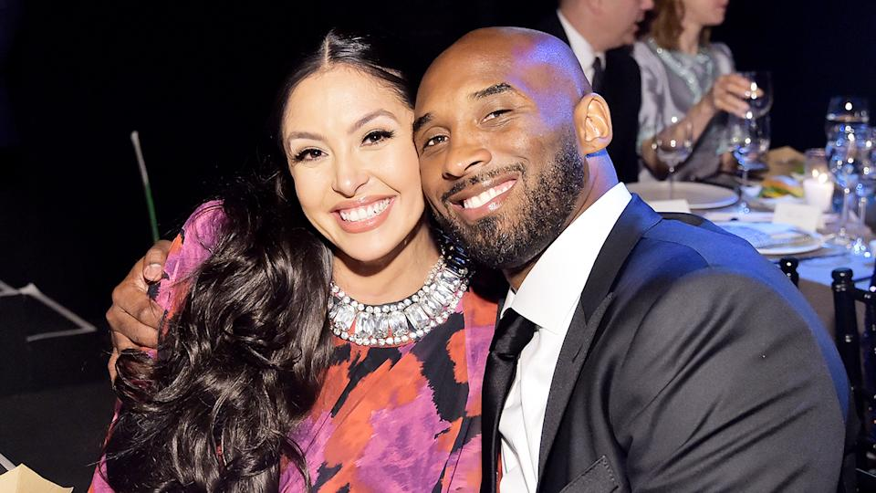 Vanessa Bryant (pictured left) smiling with husband Kobe Bryant (pictured right).