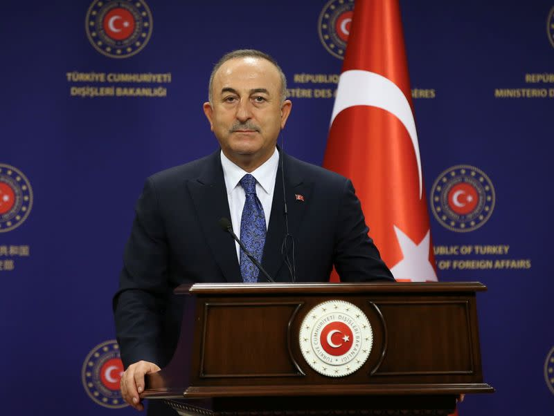 Turkish Foreign Minister Cavusoglu speaks during a news conference in Ankara