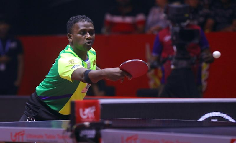 Anthony Amalraj in action during the Ultimate Table Tennis season three. Image credits UTT