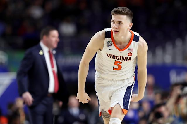 Kyle Guy #5 of the Virginia Cavaliers reacts against the Texas Tech Red Raiders in the first half during the 2019 NCAA men's Final Four National Championship game at U.S. Bank Stadium on April 08, 2019 in Minneapolis, Minnesota. (Photo by Streeter Lecka/Getty Images)
