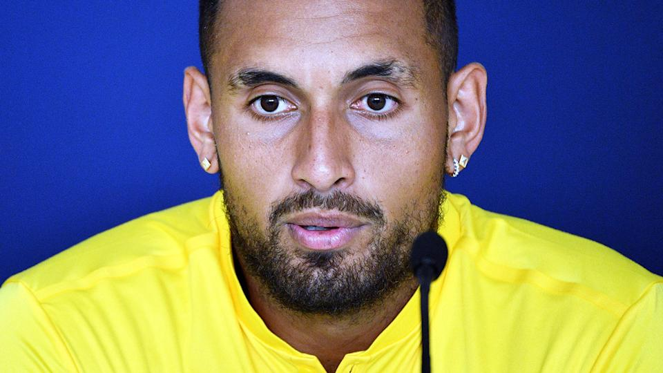 Nick Kyrgios, pictured here speaking during a press conference at the ATP Cup.