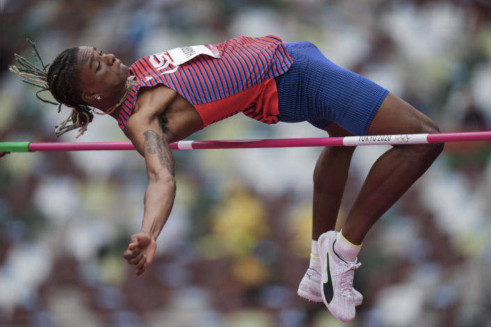 Juvaughn Harrison, of United States, competes in the preliminary round of the men's high jump at the 2020 Summer Olympics, Friday, July 30, 2021, in Tokyo. (AP Photo/Matthias Schrader)